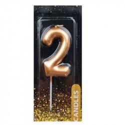 """Свічка цифра """"2""""Золото"""