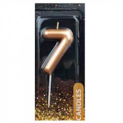 Свічка цифра 7 Золото