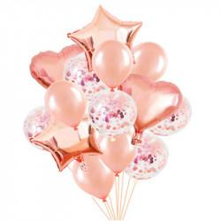 Набір кульок Рожеве золото з конфеті 14шт/уп