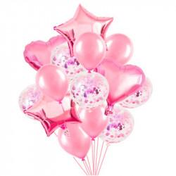 Набір повітряних кульок рожеві 14шт/уп