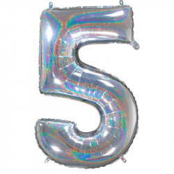 цифра 5 Срібна  голограма
