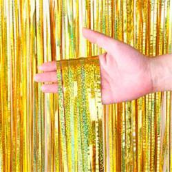 Шторка з дощику золота голограма 2*1м фольга