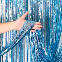 Шторка з дощику блакитна голограма 2*1м