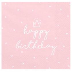 Серветки Happy Birthday  рожеві з коронкою 20 шт/уп