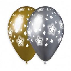 """Кульки 14""""з малюнком  в уп Хром Срібні/золоті в зірочку GBS120/967 25шт/уп 93031 TM SHOW"""