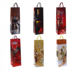 Подарунковий пакет Для пляшки  асорті 46*12*9см