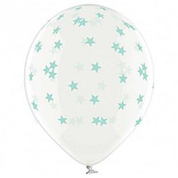 Повітряні кульки прозорі в маленькі зірки мятні