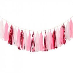 Гірлянда Тассел біло-рожева...