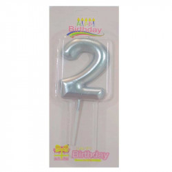 Свічка цифра 2 Срібна