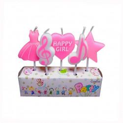 Свічки в торт з фігурками Happy Girl