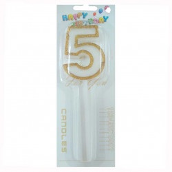 Свічка цифра 5 з золотими блискітками