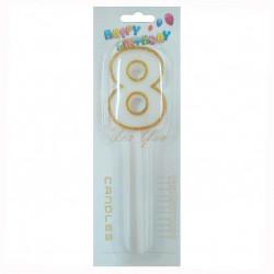 Свічка цифра 8 з золотими блискітками