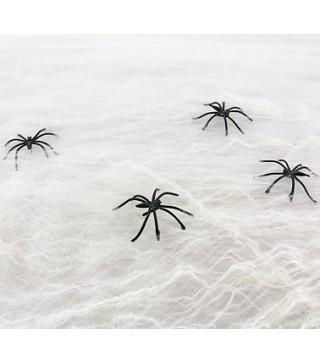 Паутина с паучками белая