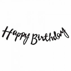Гірлянда Happy Birthday чорна папір