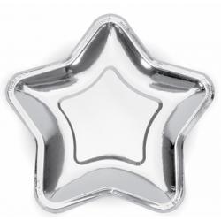 Тарілки Зірка срібна 23см. 6шт/уп папір 79061 PartyDECO