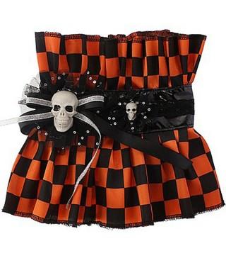 Воротник оранжево-черный с черепами