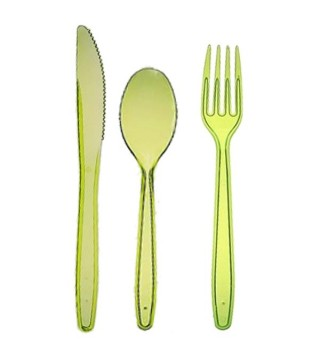Набір столових приборів салатовий 24шт/уп