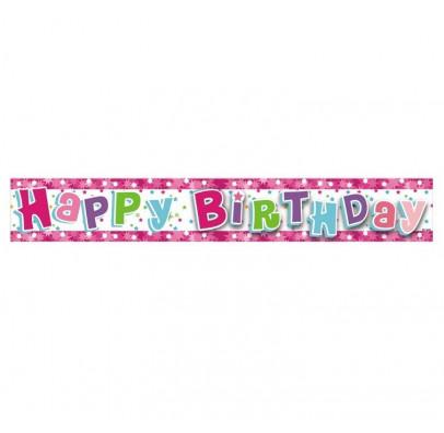 Баннер Happy Birthday розовый
