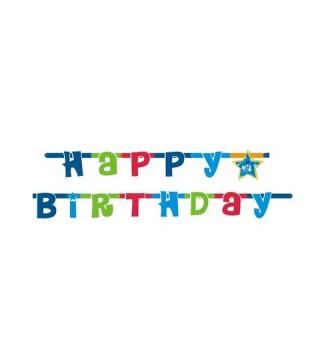 Гирлянда Happy Birthday синяя
