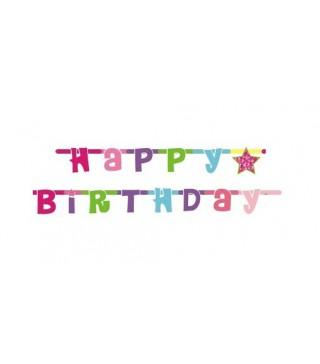 Гирлянда Happy Birthday розовая
