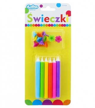 Свічки кольорові з підставками 12шт/уп