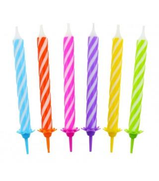 Свічки спіральні кольорові 12шт/уп