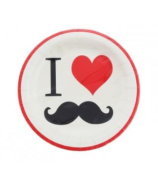 Тарілочки Я люблю вуса, 8 шт/уп
