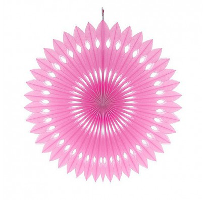 Бумажный веер (фант) розовый 40 см