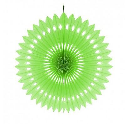Бумажный веер (фант) зеленый 40 см