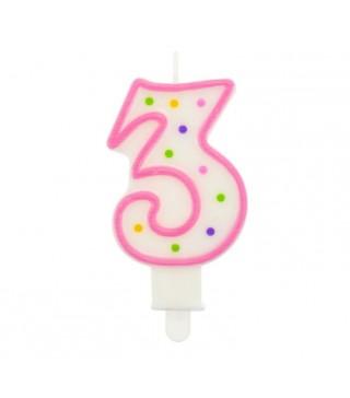 Свічка цифра 3 в крапочку