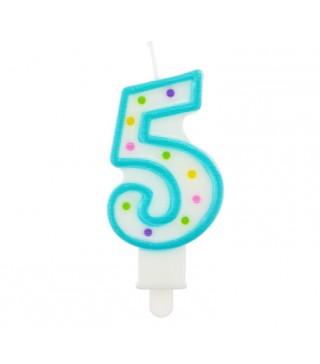 Свічка цифра 5 в крапочку