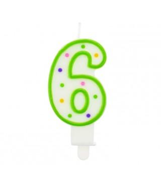 Свічка цифра 6 в крапочку