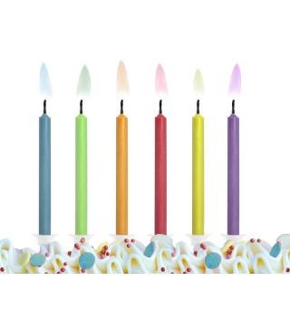 Свечи с разноцветными огнями 6шт/уп