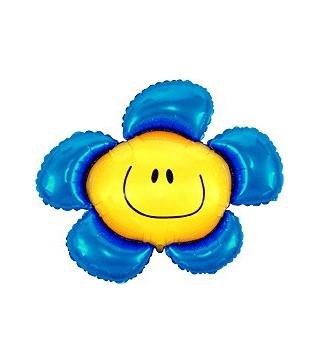 Шарик фольгированный фигурный Цветок смайлик ассорти