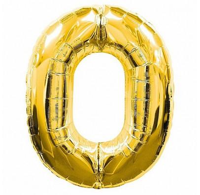 Шарик цифра 0 (86см) gold