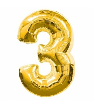 Шарик цифра 3 (86см) gold