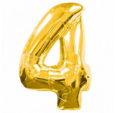 Шарик цифра 4 (86см) gold