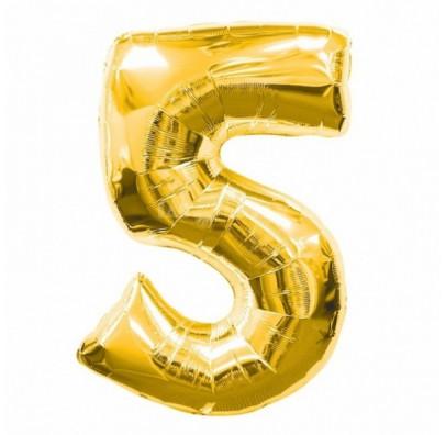 Шарик цифра 5 (86 см) gold