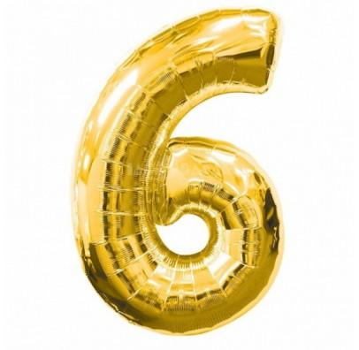 Шарик цифра 6 (86 см) gold