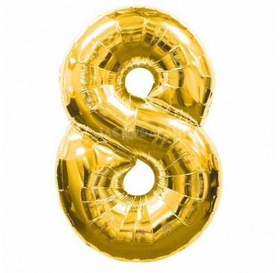 Шарик цифра 8 (86см) gold