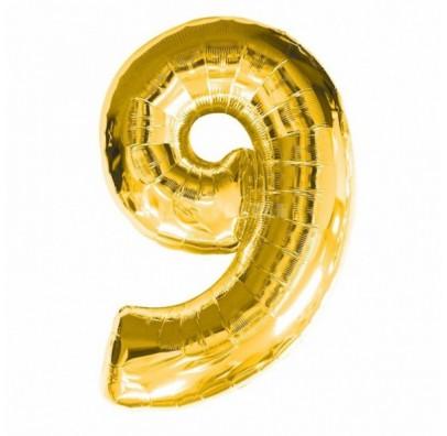 Шарик цифра 9 (86 см) gold