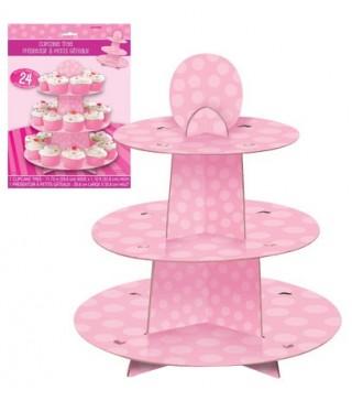 Подставка для маффинов в Горох розовая