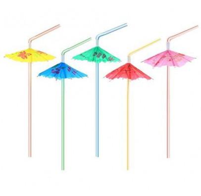 Трубочки для коктейля с зонтиками 6шт/уп