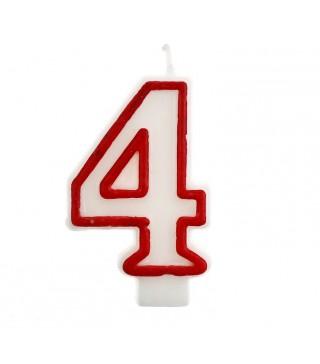 Свеча цифра 4 красный контур