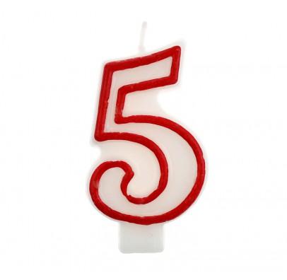 Свеча цифра 5 красный контур