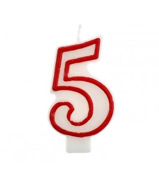 Свічка цифра 5 червоний контур