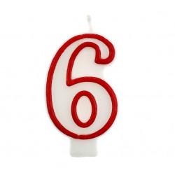 Свічка цифра 6 червоний контур
