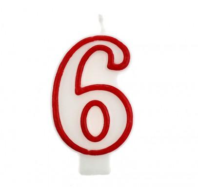 Свеча цифра 6 красный контур