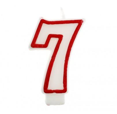 Свеча цифра 7 красный контур