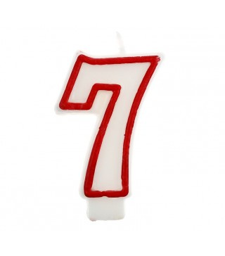 Свічка цифра 7 червоний контур